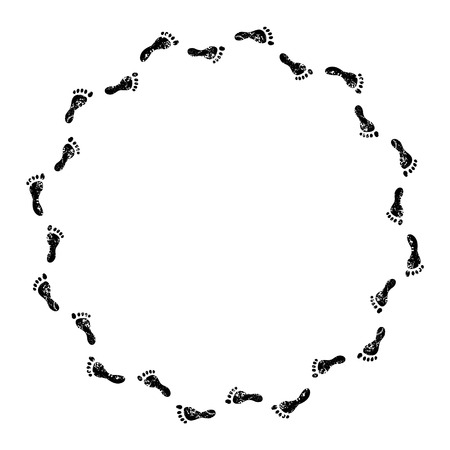 bare: Human footprints black and white circle frame, vector background