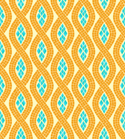 ancient roman: Yellow and blue wave mosaic seamless pattern, vector background