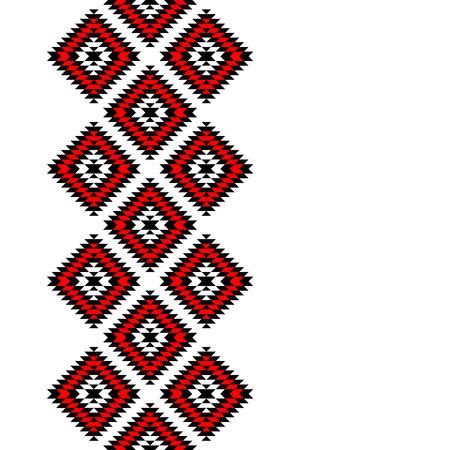 伝統: 黒赤と白のアステカ装飾の幾何学的なエスニック シームレスな境界線  イラスト・ベクター素材
