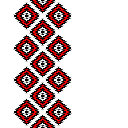 kilim: Black red and white Aztec ornaments geometric ethnic seamless border Illustration
