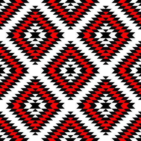 red line: Black red and white Aztec ornaments geometric ethnic seamless pattern