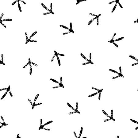 vogelspuren: Vogelabdr�cke schwarz und wei� nahtlose Muster Illustration
