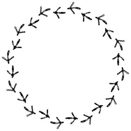 vogelspuren: Vogelabdrücke Schwarz-Weiß-Kreis-Rahmen