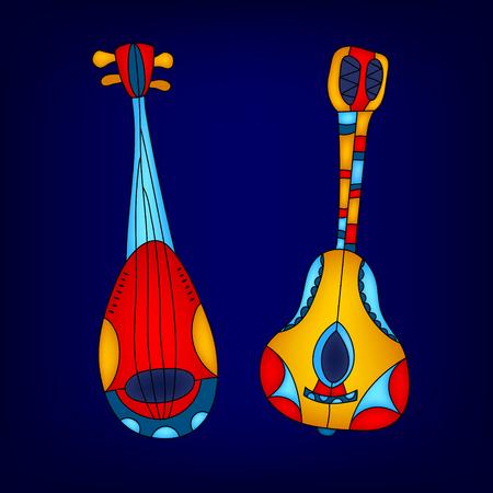 instruments de musique: Cartoon coloré carte instruments de musique, vecteur de fond Illustration