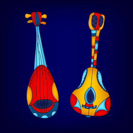 duet: Cartoon colorful musical instruments card, vector background