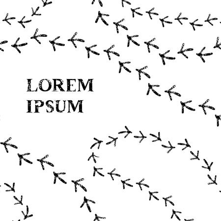 Ślady ptaków czarno-biała karta szablonu Ilustracje wektorowe