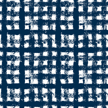 checker: Blue and white checkered gingham grunge seamless pattern, background Illustration