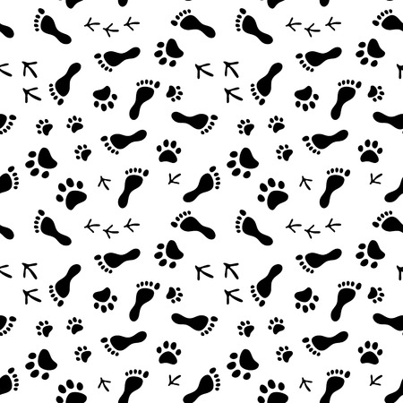animal foot: Footprints of human, cat, dog, birds black and white seamless pattern, background Illustration