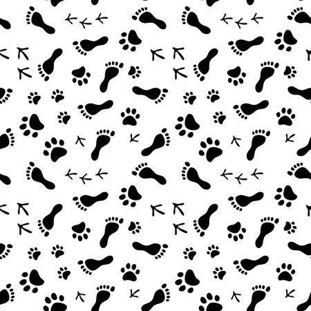 Voetafdrukken van de mens, kat, hond, vogels zwart en wit naadloze patroon, achtergrond