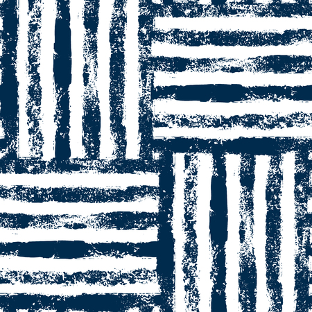 Blue and white striped woven grunge seamless pattern, background