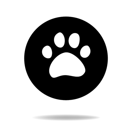 animal tracks: Animal cat or dog paw black and white flat icon, sign