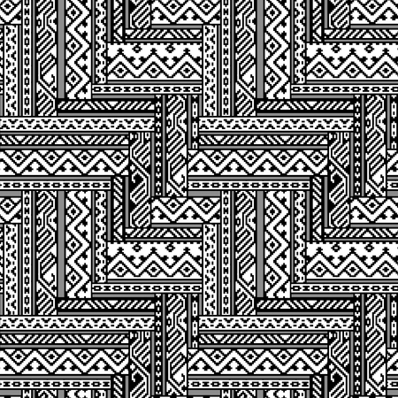 blanket: Black and white zig zag ethnic geometric aztec seamless pattern, vector background Illustration