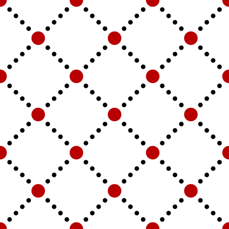black circle: Black white red dotted squares simple seamless pattern, vector background Illustration