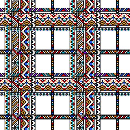 checkered pattern: Colorful ethnic geometric aztec tartan seamless pattern, vector background