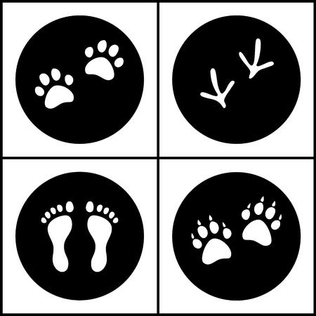 vogelspuren: Mensch und Vogel Füße, Katze und Hund Pfoten schwarz und weiß flach Icons Set, Vektor-Sammlung