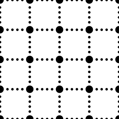 vertex: Black and white dotted squares simple seamless pattern, vector background