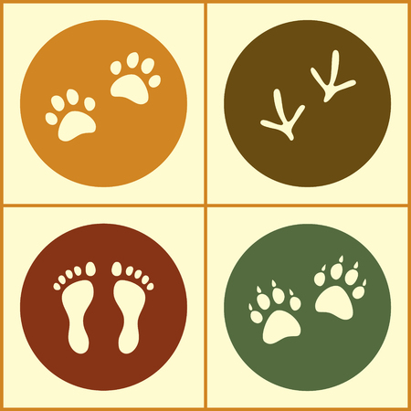 bird feet: Human and bird feet, cat and dog paws colored flat icons set, vector collection
