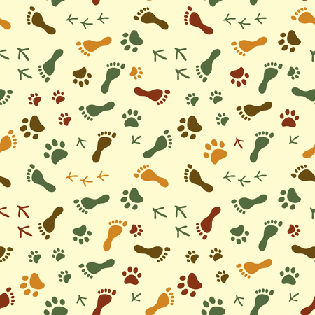 bird feet: Human and bird feet, cat and dog paws colorful seamless pattern, vector background Illustration