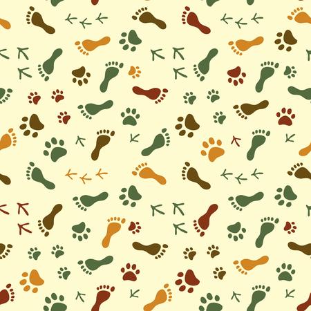 De mens en vogel voeten, kat en hond poten kleurrijke naadloze patroon, vector achtergrond