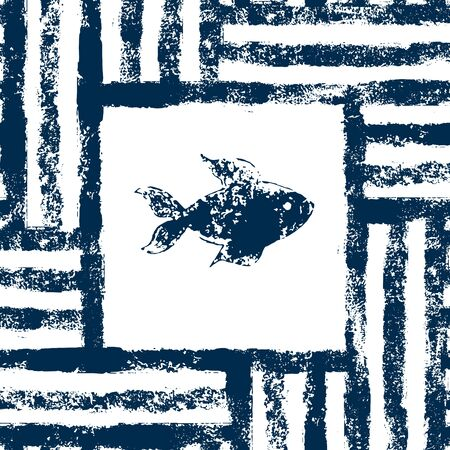 black fish: Blue and white fish in a striped frame woven grunge seamless pattern, vector background Illustration