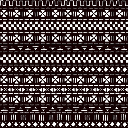 Black and white striped ornament traditional african mudcloth fabric seamless pattern, vector background