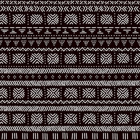 ornement rayé noir et blanc tissu mudcloth african seamless traditionnel, vecteur fond