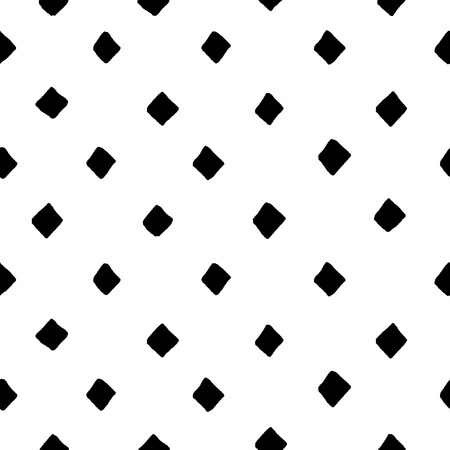 Black and white diamond shape hand drawn simple geometric seamless pattern, vector background Stock Illustratie
