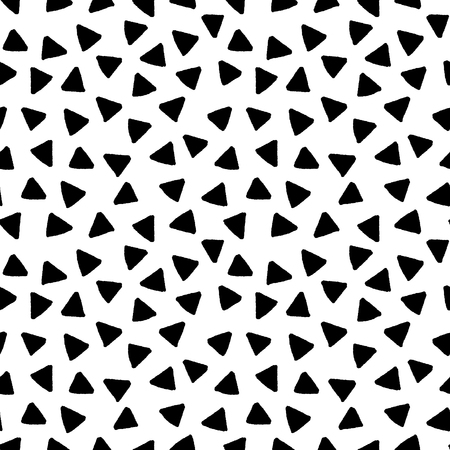 Black and white triangles hand drawn simple geometric seamless pattern, vector background