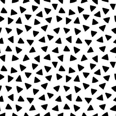 blanco: Blanco y negro triángulos dibujado a mano simple patrón geométrico sin fisuras, vector de fondo