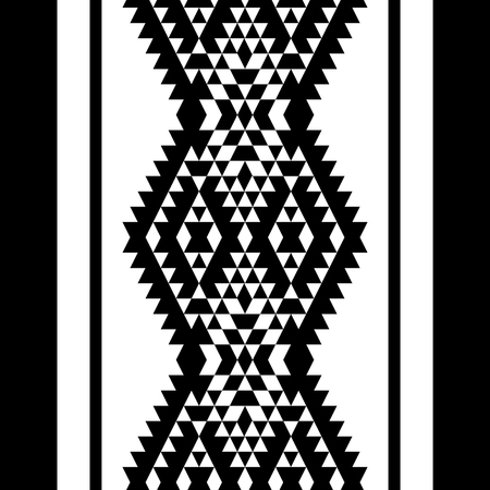 kilim: Black and white aztec striped ornaments geometric ethnic seamless border, vector background Illustration