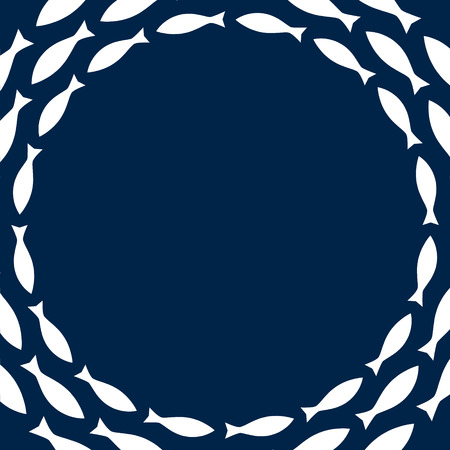 navy blue background: Navy blue and white simple fishes circle frame, vector background