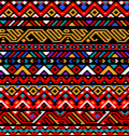 mexicans: Colorful red ethnic geometric striped aztec seamless pattern, vector background