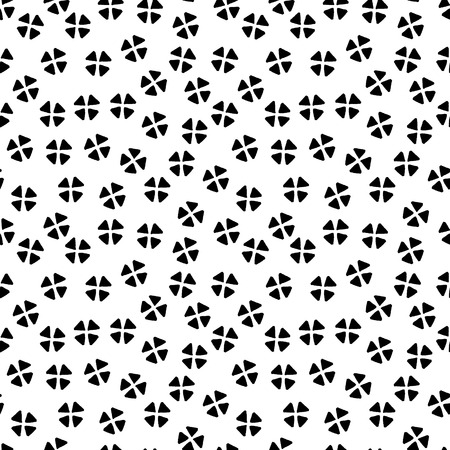 Black and white chaotic floral ethnic geometric seamless pattern, vector background