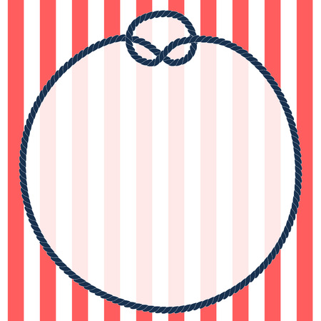 nautic: Round navy blue rope frame with a knot on striped background, vector illustarion