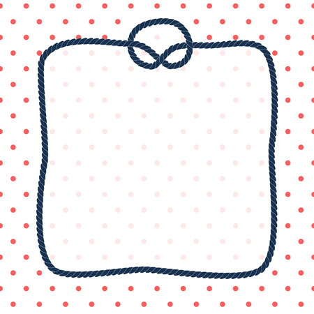 nautic: Navy blue rope square frame with a knot on dotted white background, vector template Illustration