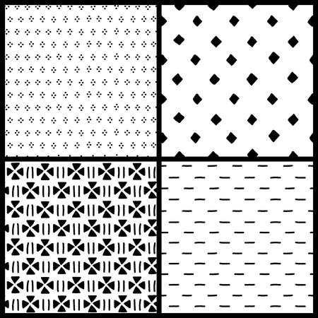 retro patterns: Black and white simple ethnic geometric seamless patterns set, vector backgrounds