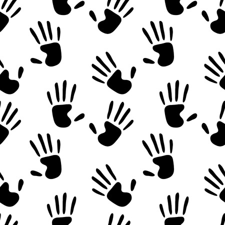 seamless pattern: Human hands prints black and white seamless pattern, vector background