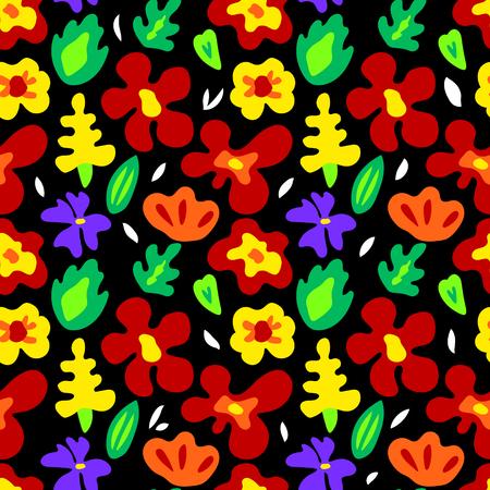 Große bunte Blumen auf schwarzem nahtlose Muster