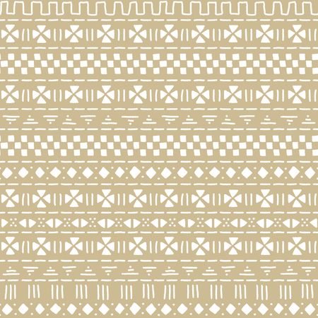 beige: Beige and white mudcloth african ethnic geometric seamless pattern