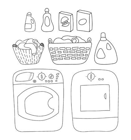 Wasserij elementen set, wasmachine en droger. detergenten, mandje van was, cartoon stijl illustratie