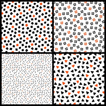 fondo blanco y negro: patrones caóticos blanco y naranja geométricos etnia negra transparente set