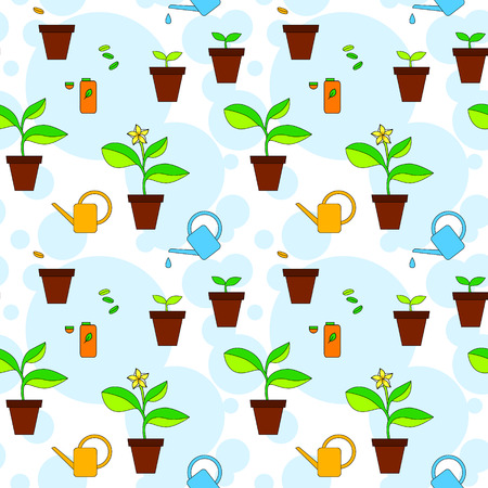 house plant: House plant growth and care advice seamless pattern