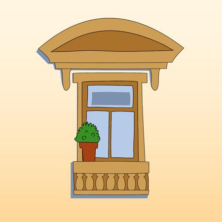 balcony: Retro style window exterior with a plant