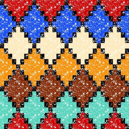 rhombus: Colorful aged geometric rhombus shape grunge seamless pattern background Illustration