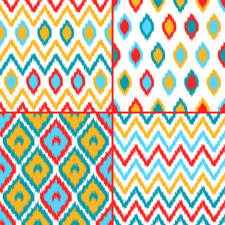 kilim: Colorful geometric ikat asian traditional fabric seamless patterns set of four background
