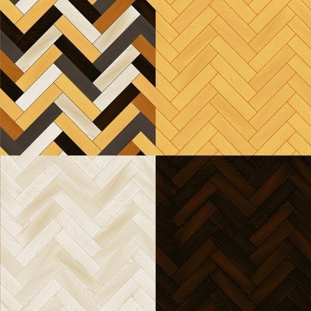 wooden floor: Realistic wooden floor herringbone parquet seamless patterns set background