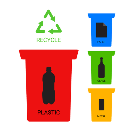 ecological: Colored recycle containers ecological illustration, symbols Illustration
