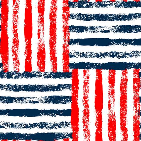 red white and blue: Blue red and white striped woven grunge seamless pattern, background