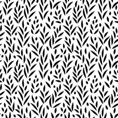grass silhouette: Black and white leaves seamless pattern, background