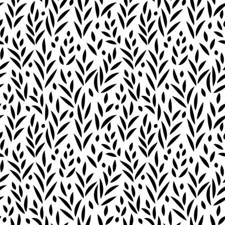 silhouette fleur: feuilles en noir et blanc seamless, fond